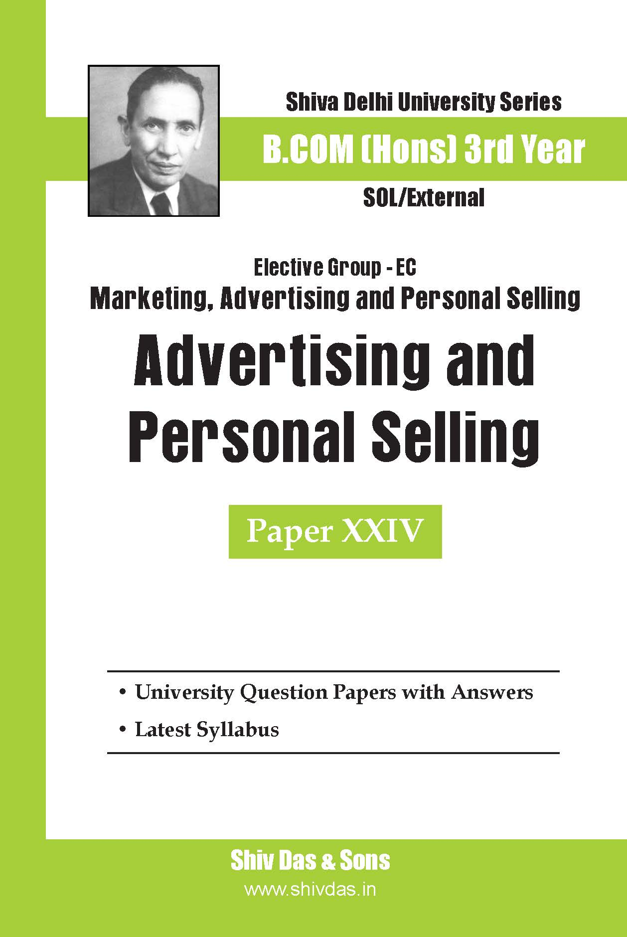 B.Com Hons-SOL/External-3rd Year-Advertising and Personal Selling-Shiv Das-Delhi University Series
